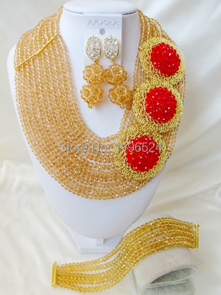 Fashion Nigerian Wedding African Jewelry Set Crystal Beads Necklace Jewelry Set India Women Costume 18K Gold Free Shipping C-125<br><br>Aliexpress