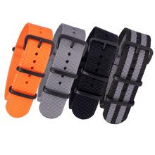 Nato Solid Black Buckle Stripe Orange Wholesale 20mm 22mm 24mm Watchbands Men Women Watches Strap Wristwatch Band Buckle Belts