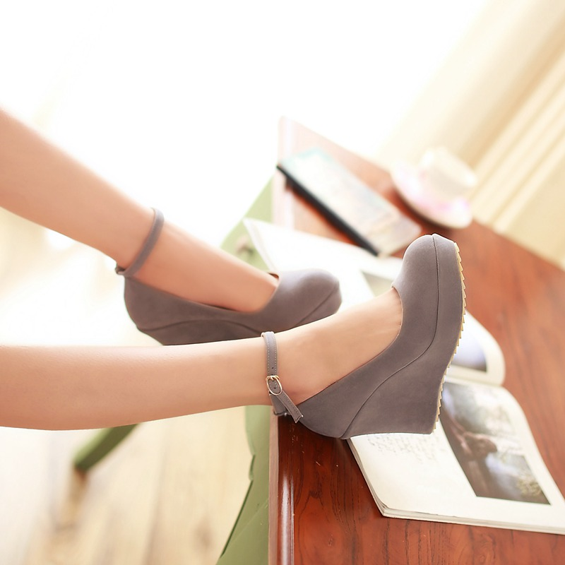 2014 spring autumn casual plain single shoes round toe ultra high heels scrub wedges strap female ol shallow mouth - Royal Sky store