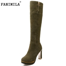Buy Woman Round Toe Thick Heel Knee Boots Women Suede Leather Platform Zipper Botas Ladies Fashion Heels Shoes Footwear Size 31-43 for $31.86 in AliExpress store
