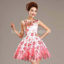Oriental Beauty Ball Gown Formal Dress Short Homecoming Party Organza Cheap Cocktail Dress Appliques Flowers Cocktail Dresses(China (Mainland))