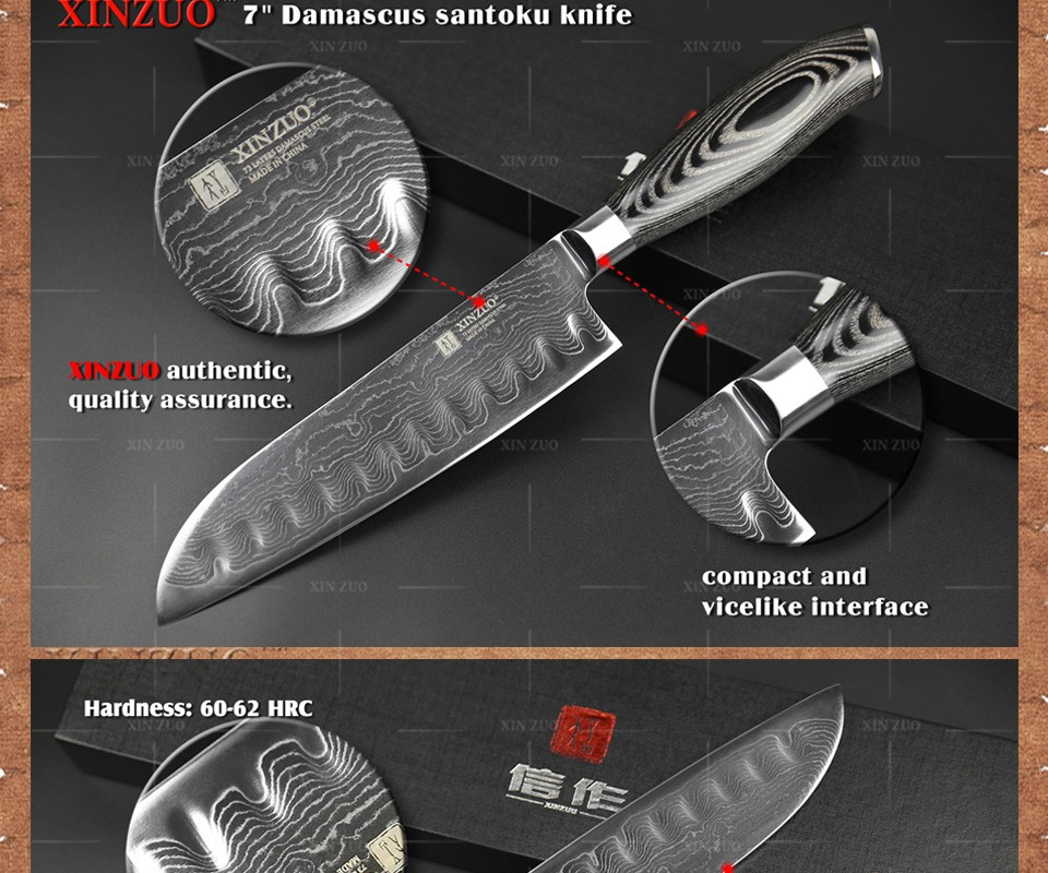 "Buy 7"" inch Japanese chef knife 73 layers Japan Damascus kitchen knife sharp meat santoku knife with Color wood handle free shipping cheap"