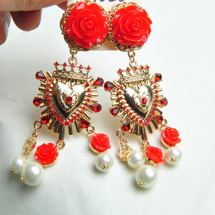2015 New Arrival Baroque Red Rose Earrings Good Plated Heart with Red Crystal Vintage Jewelry for Catwalk Women ER172(China (Mainland))