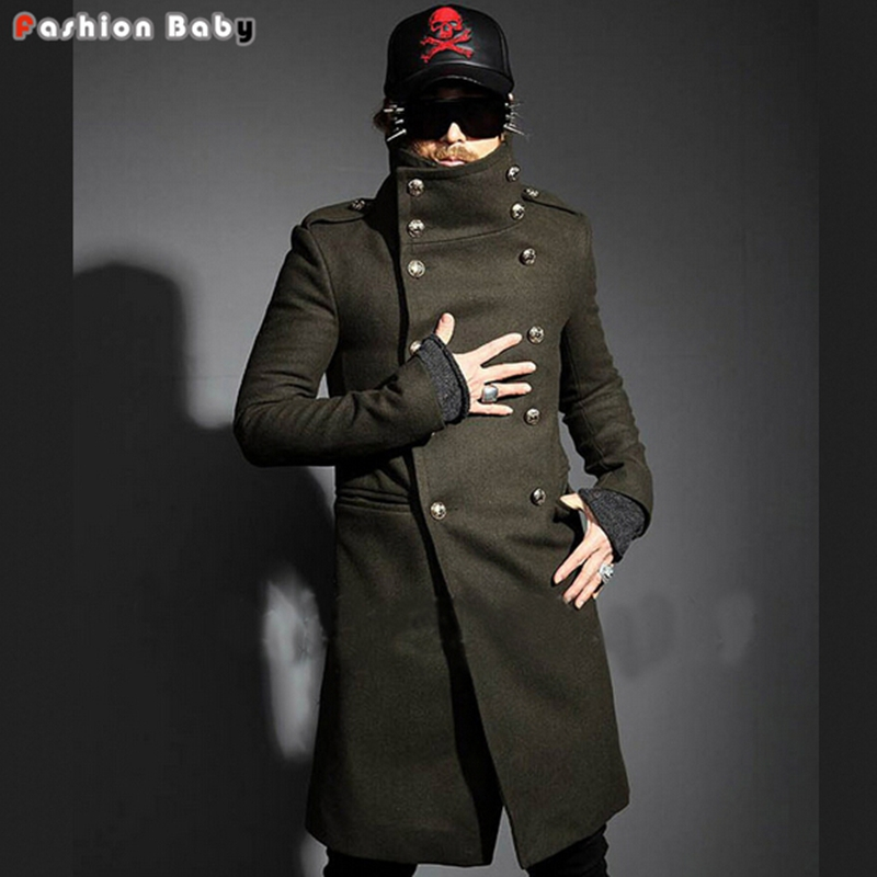 Men Cool Yuppie Double-breasted Turn-down Collar Long Design Slim-fit Woolen Trench Jacket Coat Winter Army Green - Fashion Baby No.1 store