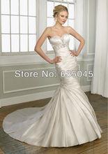 2015 New Custom Made Elegant Satin Crystal Beading Pleat Mermaid Wedding Dress Vestido De Noiva