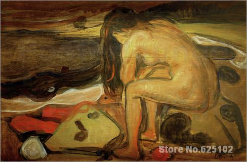 Female nude on the beach by Edvard Munch paintings For sale,Home Decor,Hand-painted,High quality(China (Mainland))