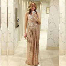 2015 Rose Gold Sequins Bridesmaid Dresses V Neck A Line Floor Length Maid Of Honor Gold Bling Long Plus Size(China (Mainland))