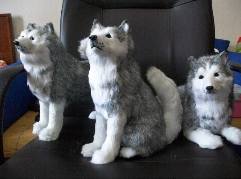 3 pieces lovely plush husky toy simulation sitting, standing, lying husky dog doll birthday gift about 30cm<br><br>Aliexpress