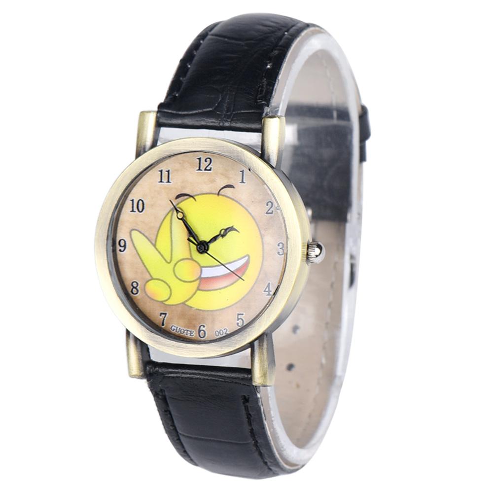 Top brand luxury vogueWomen Men Leisure Time Faux Leather Analog Expression Wrist Watch reloj mujer marcas famosas(China (Mainland))