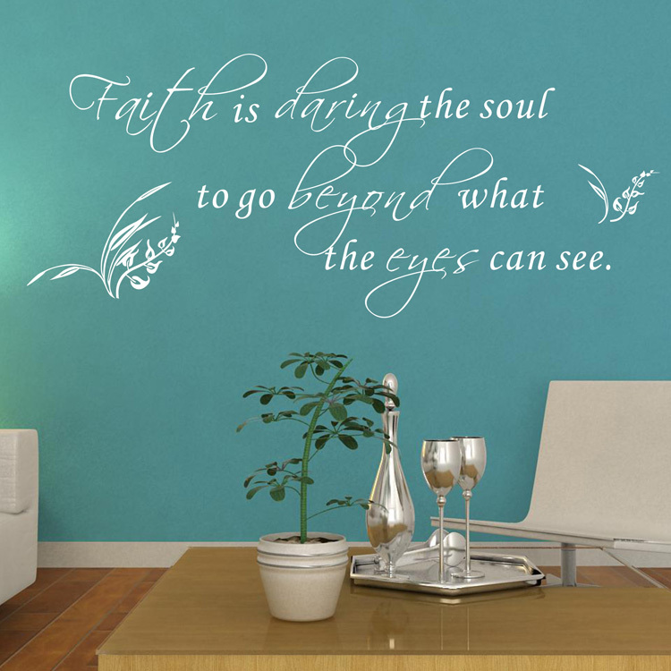 Amazon hot Faith Is Daring The Soul To Go Beyond What The Eyes Can See Vinyl Wall Art Quote Religious wall decals free shipping(China (Mainland))