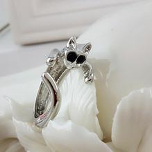 Cute Silver Cat Shaped Ring With Rhinestone Eyes Adjustable and Resizeable