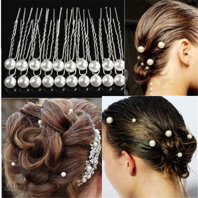 20pcs/pack White Pearl Hair Clips Women Charm Wedding Bridal Party Hairpins Jewelry Accessries Free Shipping(China (Mainland))