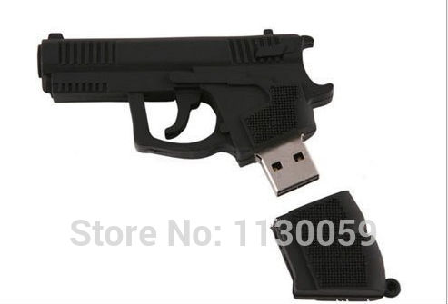 Wholesale cool mini weapon hand gun pendrive USB Flash Drive thumb memory stick u disk pen 1GB-64GB cartoon gift/ souvenir S19