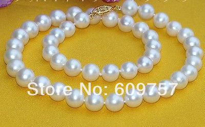 natural  jewelry Exquisite AAA 8-9mm White Freshwater Cultured Pearl Necklace 18 inch 18K GP Gold Silver hook Free deliver