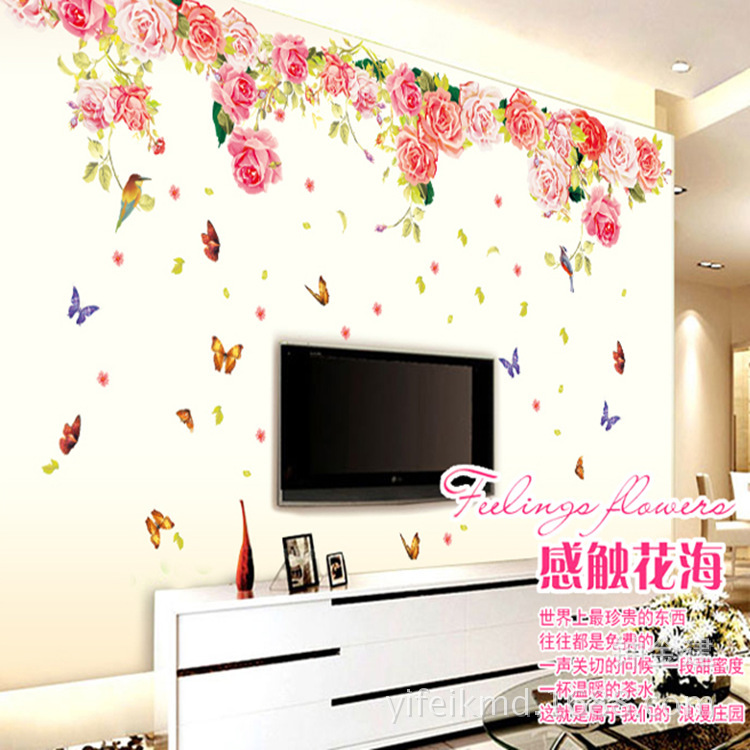 blomming roses large love wall sticker diy pvc butterfly full wall decals floral wallpaper