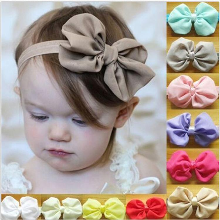 New Arrival Drop Shipping Fashion Hair Accessories Solid Color Chiffon Bowknot Elastic Baby Girl Hairbands 14 Colors(China (Mainland))