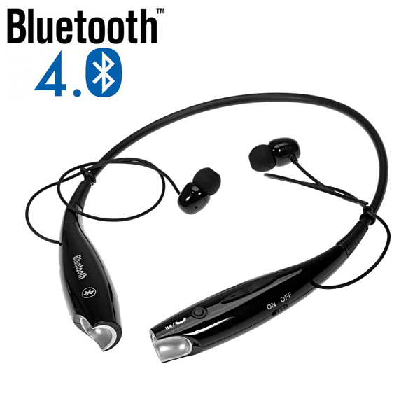 black wireless bluetooth headset neck style headphone with. Black Bedroom Furniture Sets. Home Design Ideas