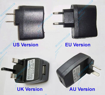 Free Shipping Universal USB Wall Travel Charger for Bluetooth Music Receiver,MP3,MP4, 5V 500Mah ( UK, EU, AU, US versions)