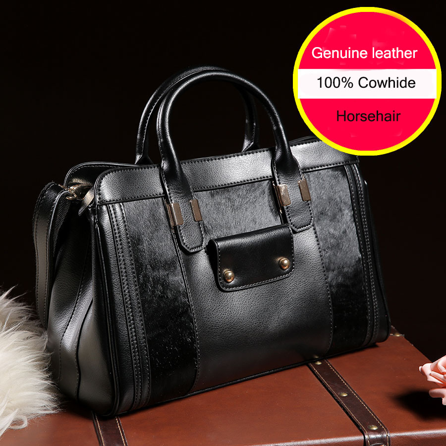 2015 New Brand Handbag for Women Handbags High Quality Cowhide Genuine Leather Bags with Horsehair Shoulder Tote Bag SMB082<br><br>Aliexpress