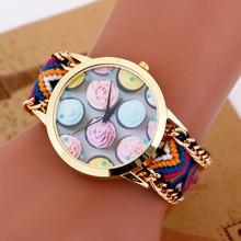 2015 nueva moda de cuarzo reloj DIY de la armadura de hielo patrón de flor del vestido de pulsera chapado en oro pulseras y brazaletes