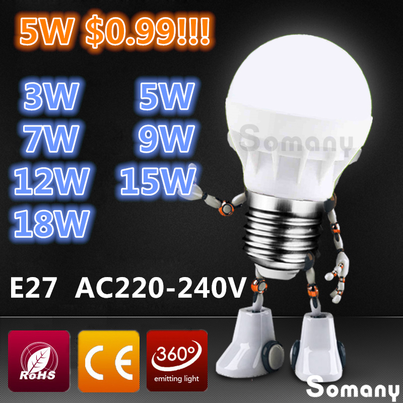 Led Lamp E27 3W 5W 7W 9W 12W 15W 18W Led Light Bulbs 220V 230V 240V SMD 5730 E27 Spotlight Wholesale Warm / Cool White Led Bulb<br><br>Aliexpress