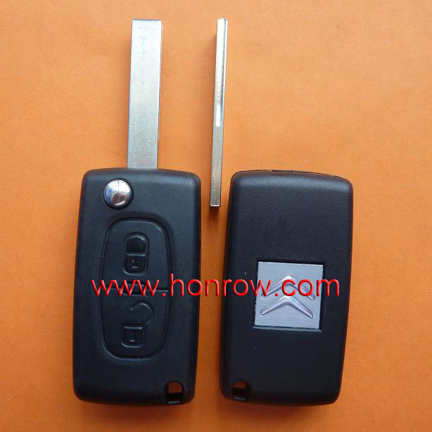 High quality Original Citroen 2 button flip remote key with Hu83 407 blade 433Mhz ID46 Chip