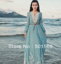 light blue lace embroidery fullsleeve long medieval dress Renaissance Gown princess costume Victorian Gothic Lo/Marie Antoinette