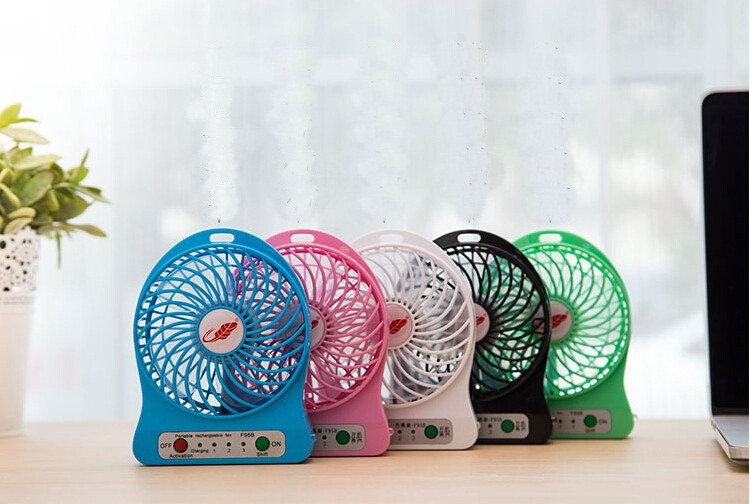 Free DHL hot sale F95B Portable Mini USB Fan Rechargeable Battery Operated w/ LED Lamp for Indoor/ Outdoor/ Kids Table Mini Fan(China (Mainland))