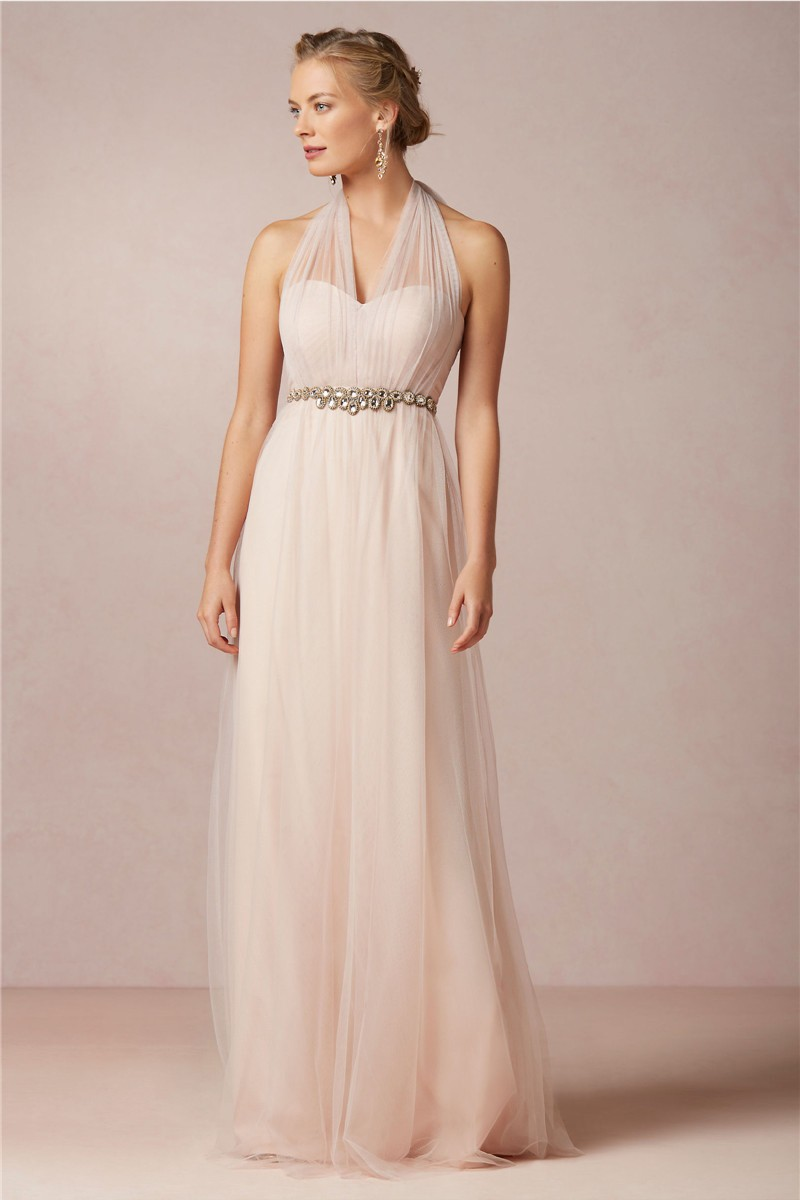 2015 a line halter neck pink sexy long bridesmaid dresses for Elegant wedding party dresses