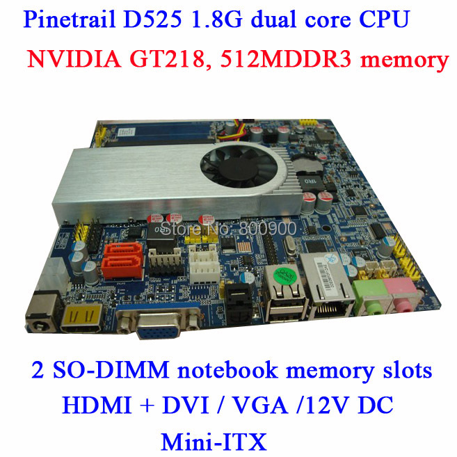 ASL mini D525-HTPC board NVIDIA GT218 graphics card  memory 512M DDR3 ION2 mini itx all in one motherboard 2SO-DIMM notebook RAM<br><br>Aliexpress