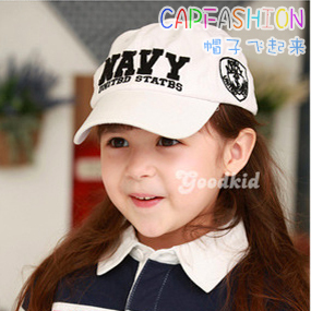 Navy letter spring and summer baby hat male child baseball cap