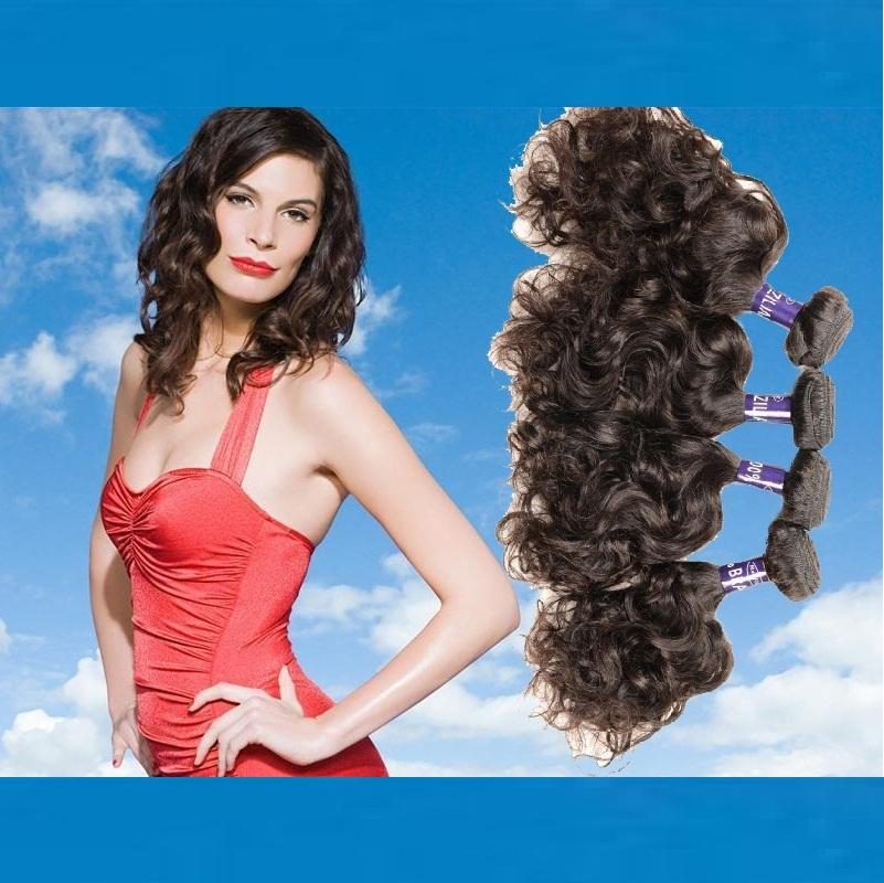 Brazilian Human hair weave distributors 3pcs lot water wave 8-30inch wet and wavy human hair bundles natural color free shipping(China (Mainland))