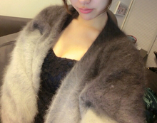 2016 New Arrival Women Gradient Cardigans Real Mink Fur Sweater Contrast coat Free shipping FP580(China (Mainland))