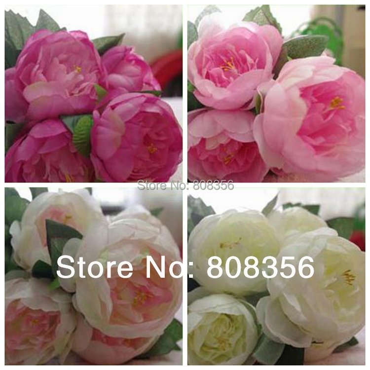 "one piece 43cm/16.93"" Length Four Colors Artificial Silk Flowers Simulation Peony Hibiscus Wedding Flower Decoration(China (Mainland))"