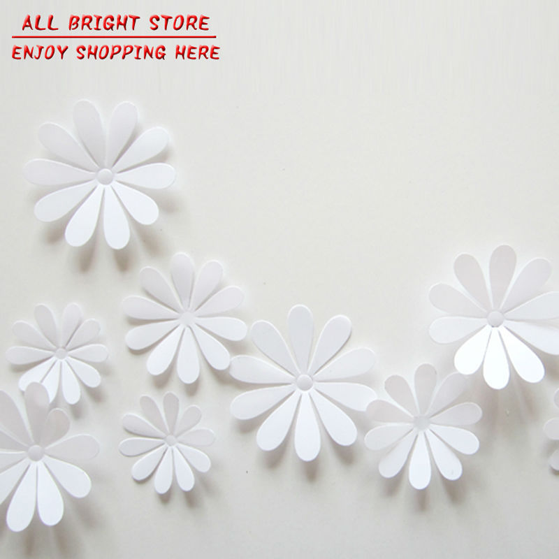 Wall Decor White Flowers : Pcs lot pvc d decorative white flower wall stickers for