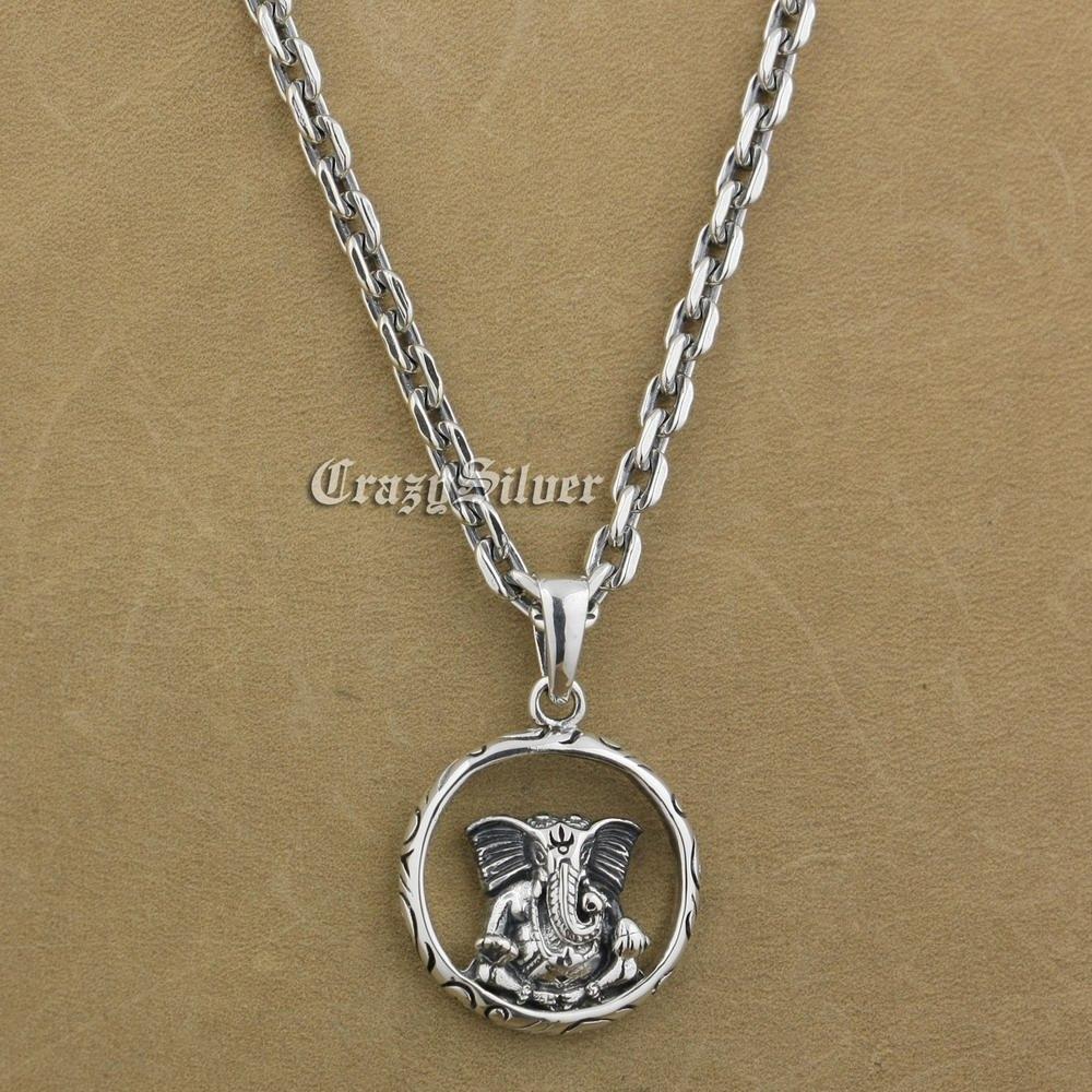 925 Sterling Silver Buddha Elephant Mens Biker Round Pendant 9V112A 925 Sterling Silver Necklace 24<br><br>Aliexpress