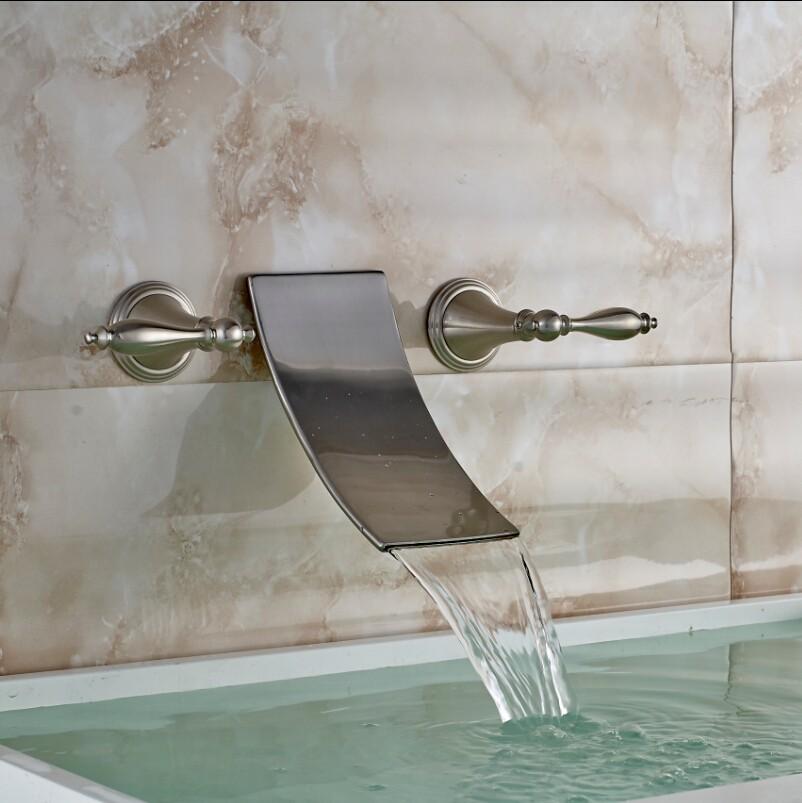 Купить Уникальный Дизайн Настенные 3 шт. Смеситель Краны Матовый Никель Готовые Водопад Ванной Смеситель Кран