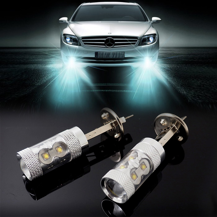 10 pieces/lot H1 50W CREE 10 LED bulb High Power Xenon White Car Auto Replacement Bulb Fog Lamp DRL Daytime Running Light DC12V