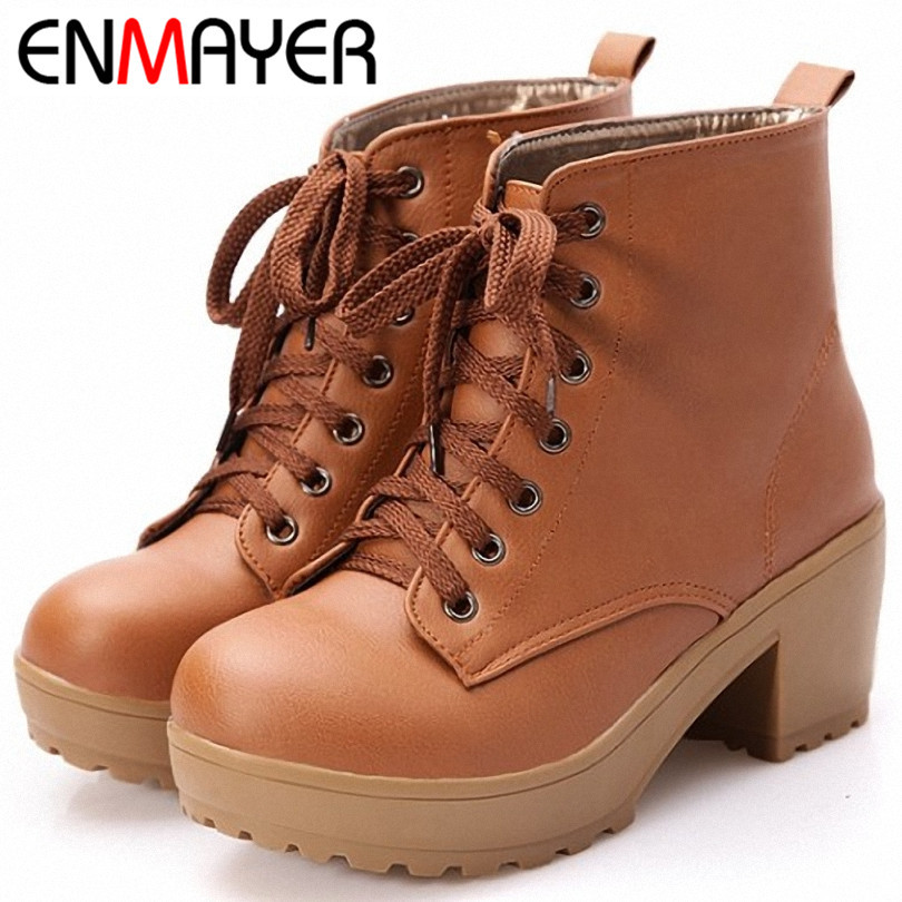 ENMAYER New Autumn Boots Spring Women Boots Artificial High Heel Platform Lace Up Ankle Boots Girls Shoes Big Size 34-43(China (Mainland))