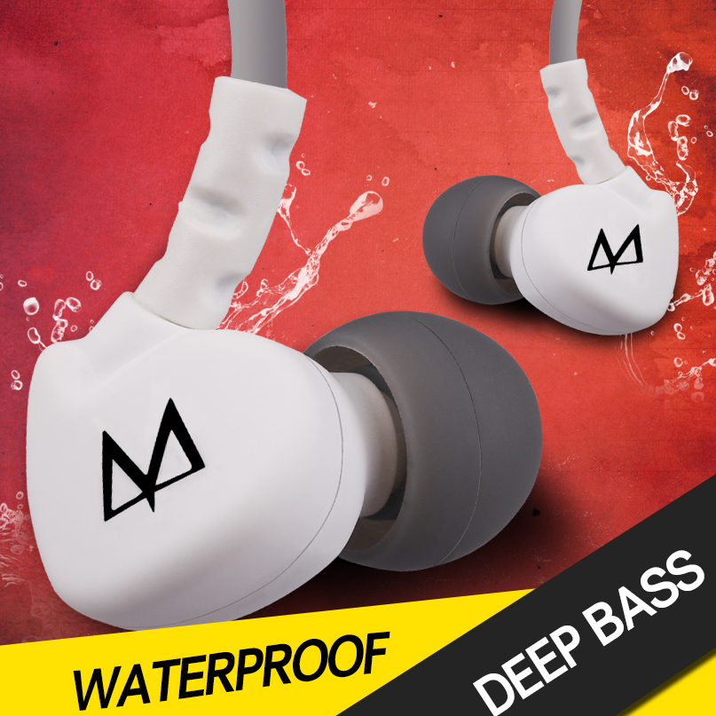 Maya S6 fashion Sports Earphones In Ear waterproof subwoofers Headphone with Mic , Noise isolating Earbud for MP3 MP4 Cellphone