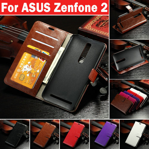 Vintage Wallet PU Leather Case for ASUS Zenfone 2 5.5inch with Stand and Card Holder Phone Bag Luxury Flip Cover Brown White(China (Mainland))