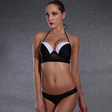 CZSt 2016 New Fashion Swimsuit Sexy Pure Black White Bikini Set Bra Push Up Swimsuit Women Lady Bathing Suit Female Swimwear