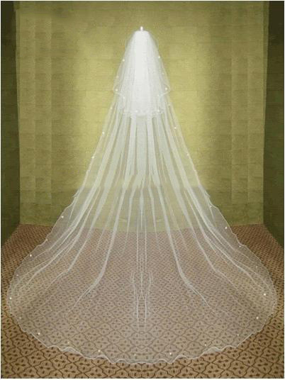 Free Shipping Stunning White Ivory Wedding Veil 2 Tier Crystal Cathedral Bridal Veils Long Veils