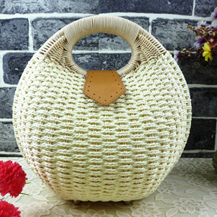 ladies bags made from straw in round shape beach bags for women B49(China (Mainland))