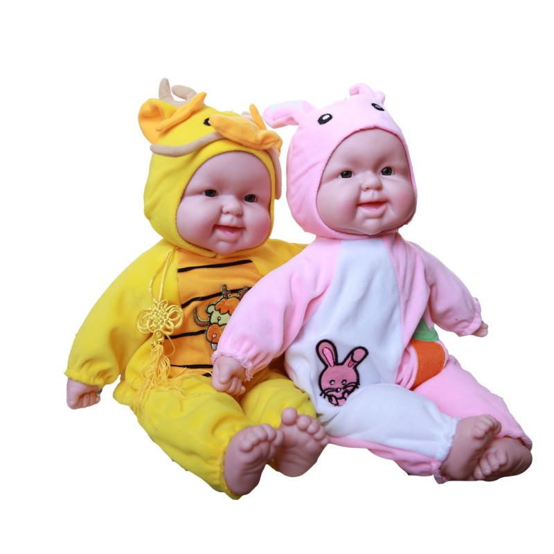 12 Styles Animal Zodiac Baby Doll Simulated Laughter Silicone Reborn Laughing Dolls Children's Toys Birthday Gift For babies(China (Mainland))