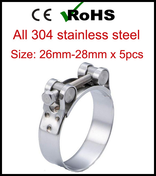 26mm-28mm x 5pcs Single Bolt Heavy Duty Hose Pipe Clamp 304 Stainless Steel Strong Force High Pressure Robust Tube Clips(China (Mainland))