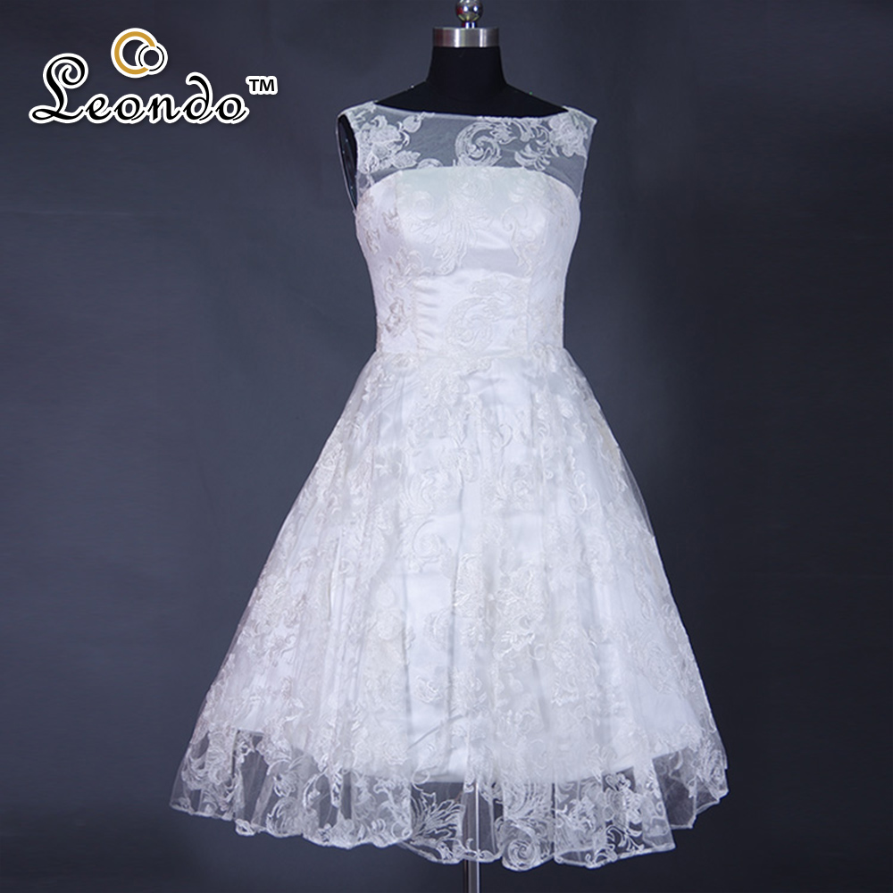 Aliexpress Buy Bambas Cap Sleeve Lace Bridal Gowns Knee Length Bridal Dresses A Line Cheap