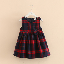 New Autumn Winter Girl princesse Dresses baby Girls England Plaid kilt dresses Children kids Grid party dress school for girls