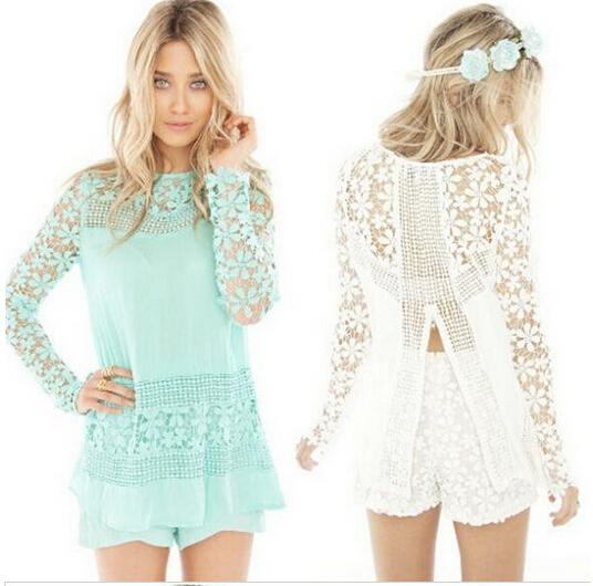 produto S-XL 2015 New Women Hot Sale Vintage Croche Female Floral Lace Long Sleeve Chiffon Blouse Shirt  Hollow Out Patchwork Tops