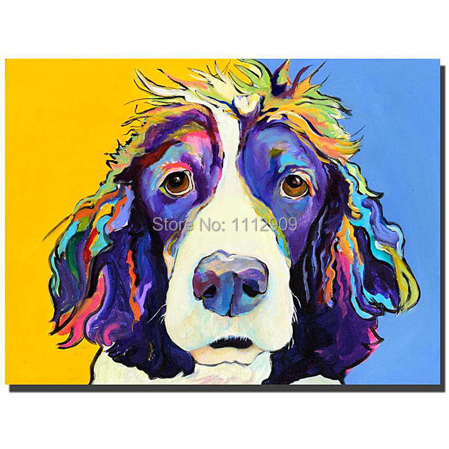 Free Shipping Handmade modern oil painting pictures Animal paintings on Canvas Pop Colourful Dog wall Art For home wall Decor(China (Mainland))